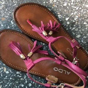 Aldo Fuchsia & Gold Tassel Sandals